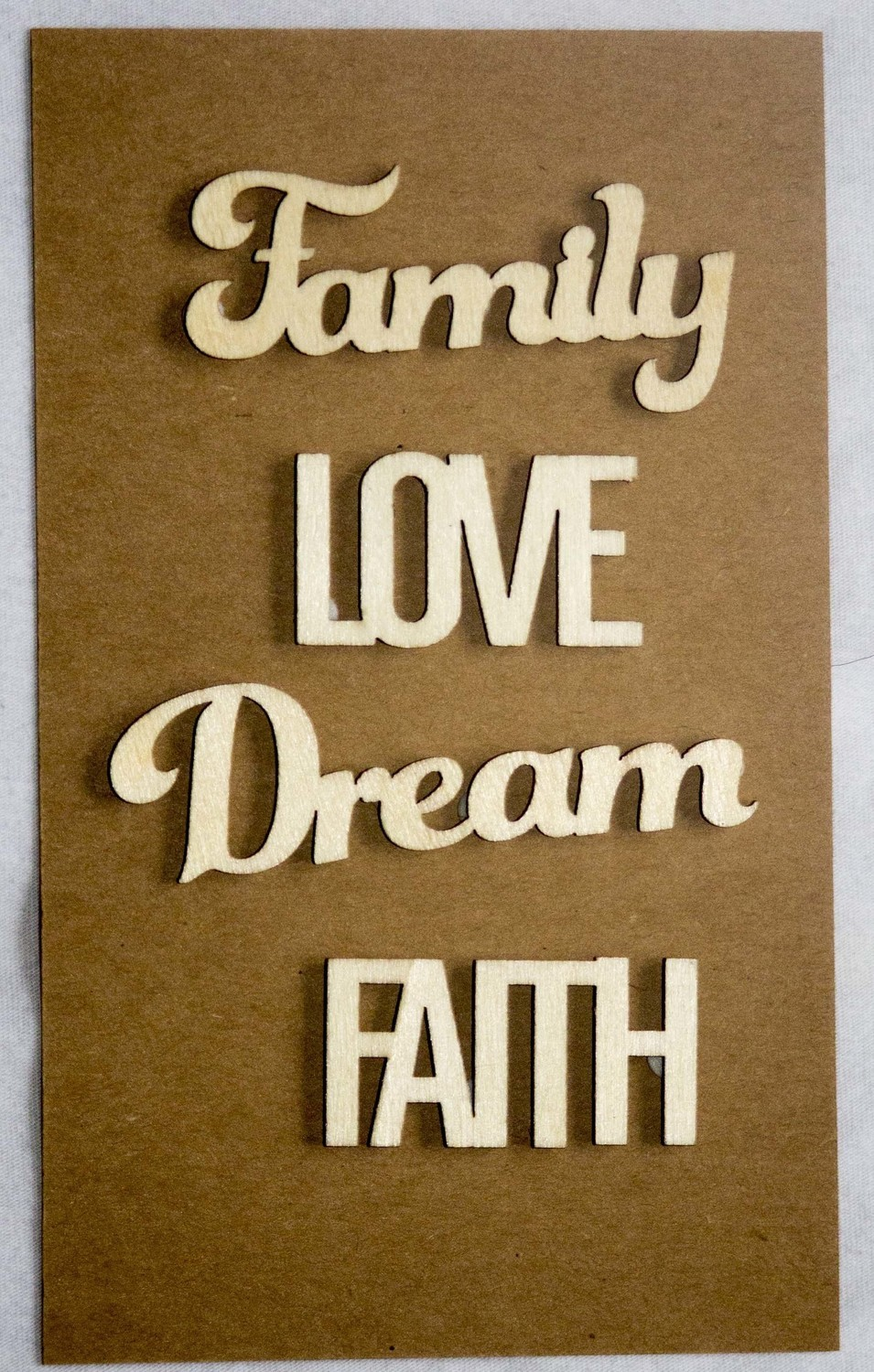 FAMILY LOVE Laser Cut Wood Veneer Words