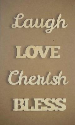 LAUGH LOVE Laser Cut Wood Veneer Words