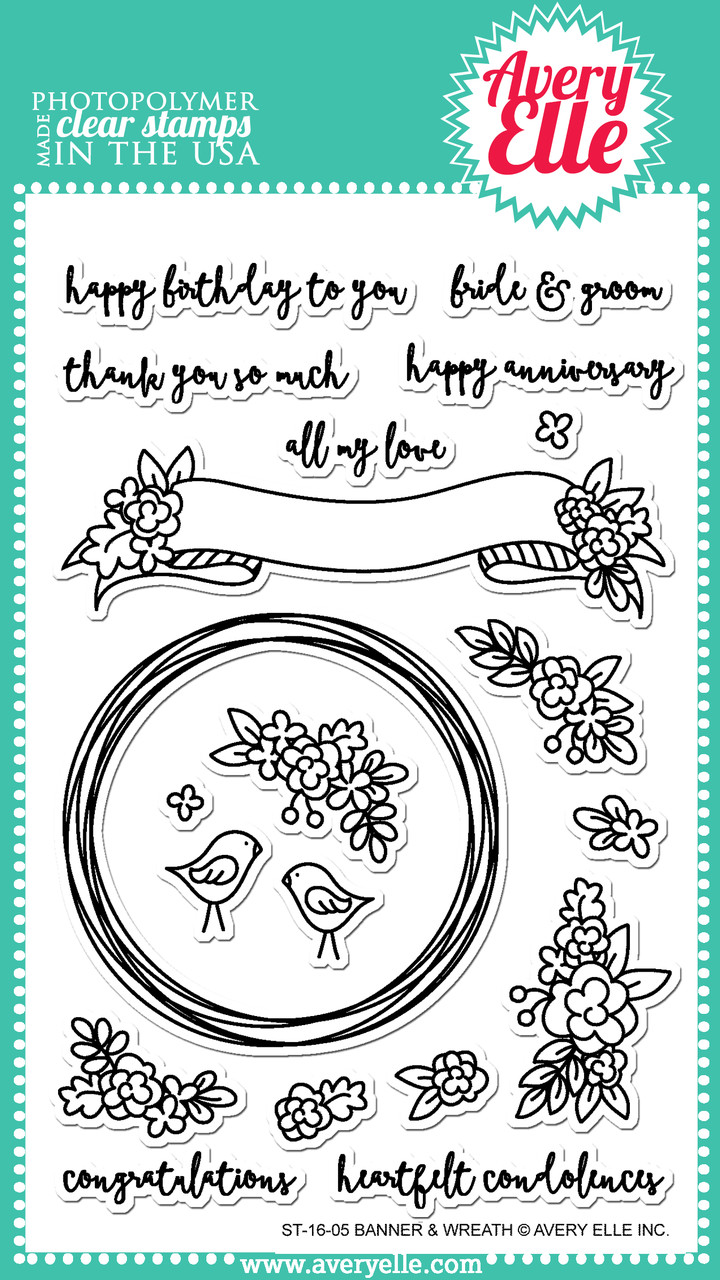 *Avery Elle BANNER & WREATH Clear Stamp Set