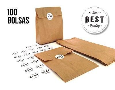 Bolsa Kraft + Etiqueta adhesiva (pack 100+100)