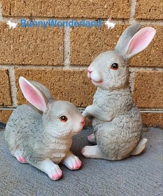 Garden Decoration - Grey Bunny Statue