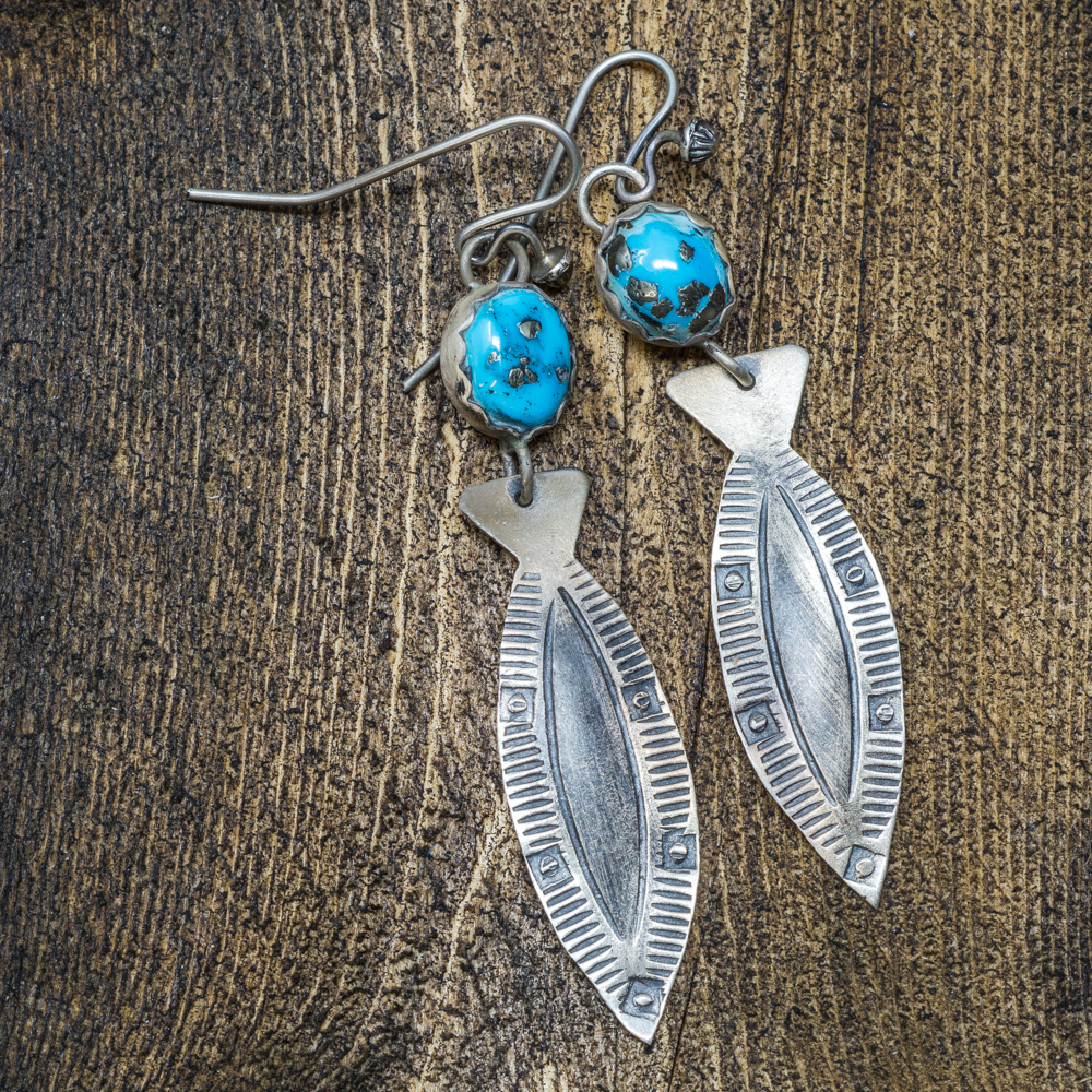 Sleeping Beauty Turquoise Fisher Earrings by Andrew Ruiz SB200007