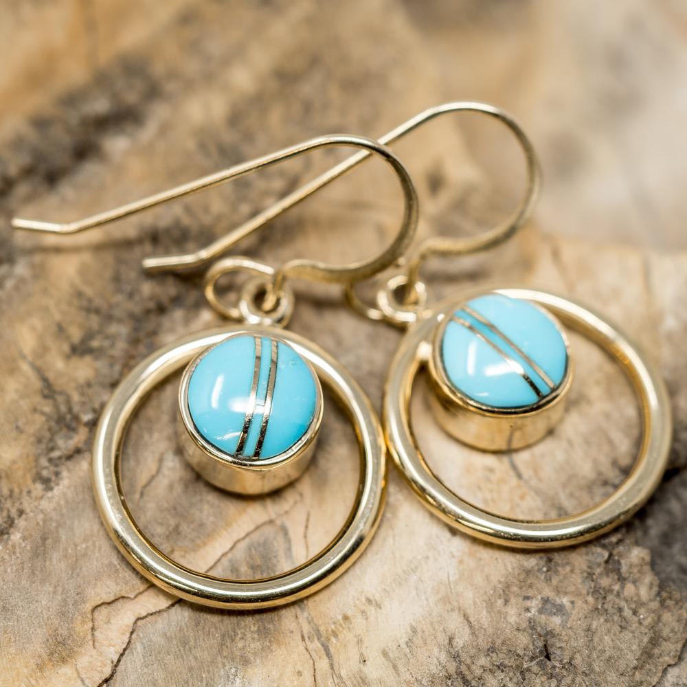 Sleeping Beauty Turquoise Earrings set in 14k Gold SB200019