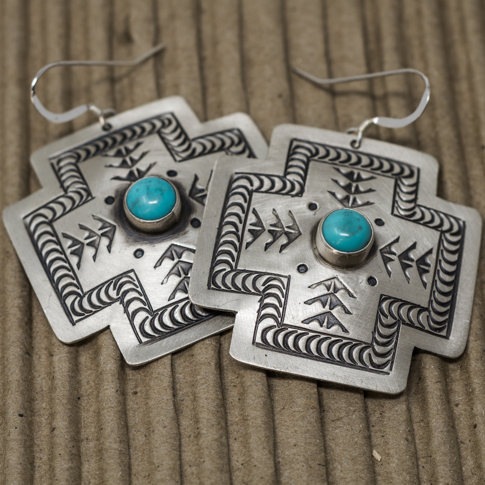 Stamped Sterling Silver & Turquoise Earrings JE200077