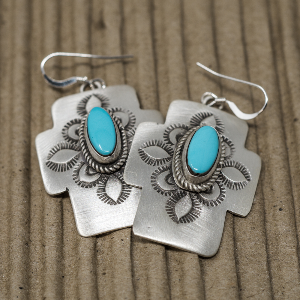Stamped Sterling Silver & Turquoise Earrings JE200076