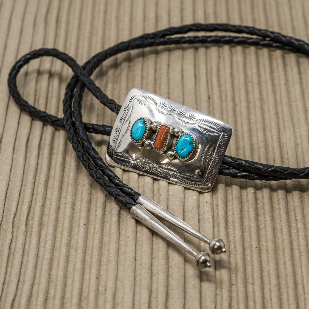 Sterling Silver Bolo with Turquoise & Coral JE200080