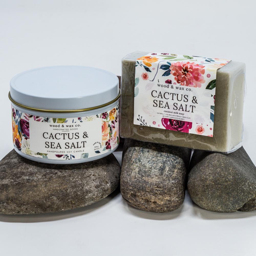 Cactus & Sea Salt Scented Candle & Soap Gift Set SG200085