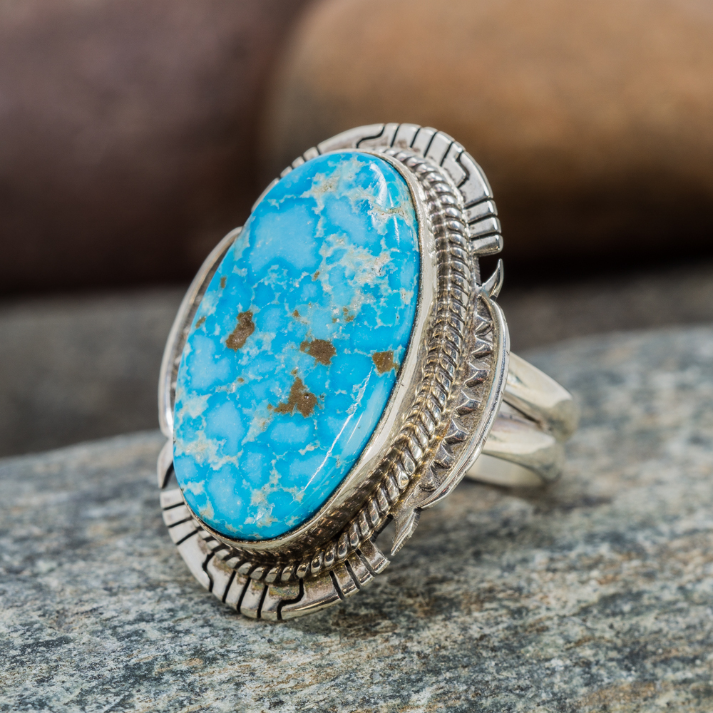 Kingman Turquoise Ring in Sterling Silver JE200090