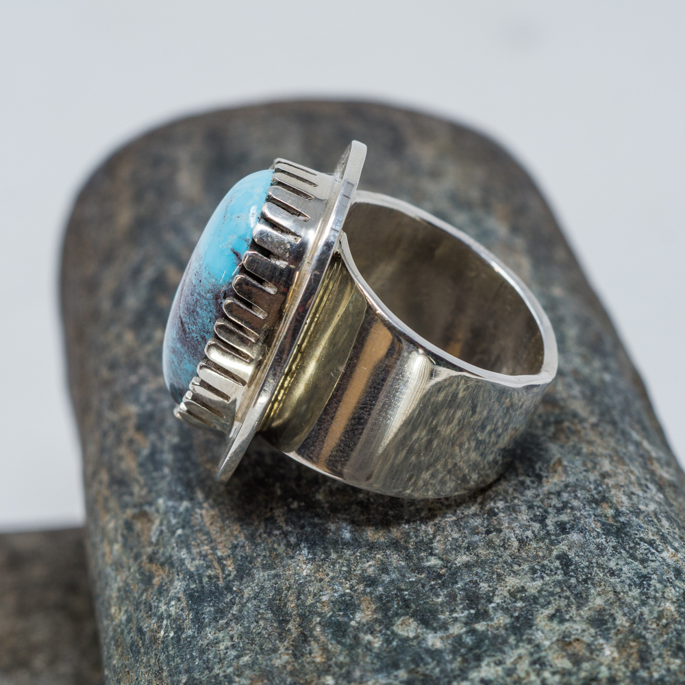 High Grade Bisbee Turquoise Ring by Tommy Jackson