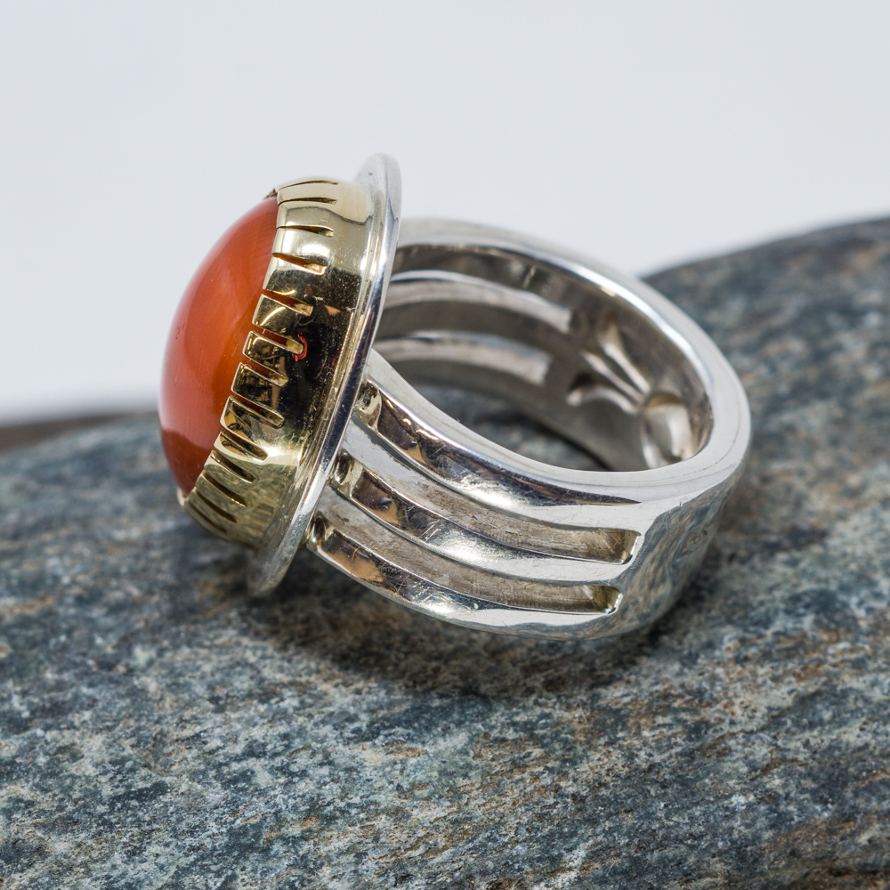Coral, Gold and Sterling Silver Ring by Tommy Jackson