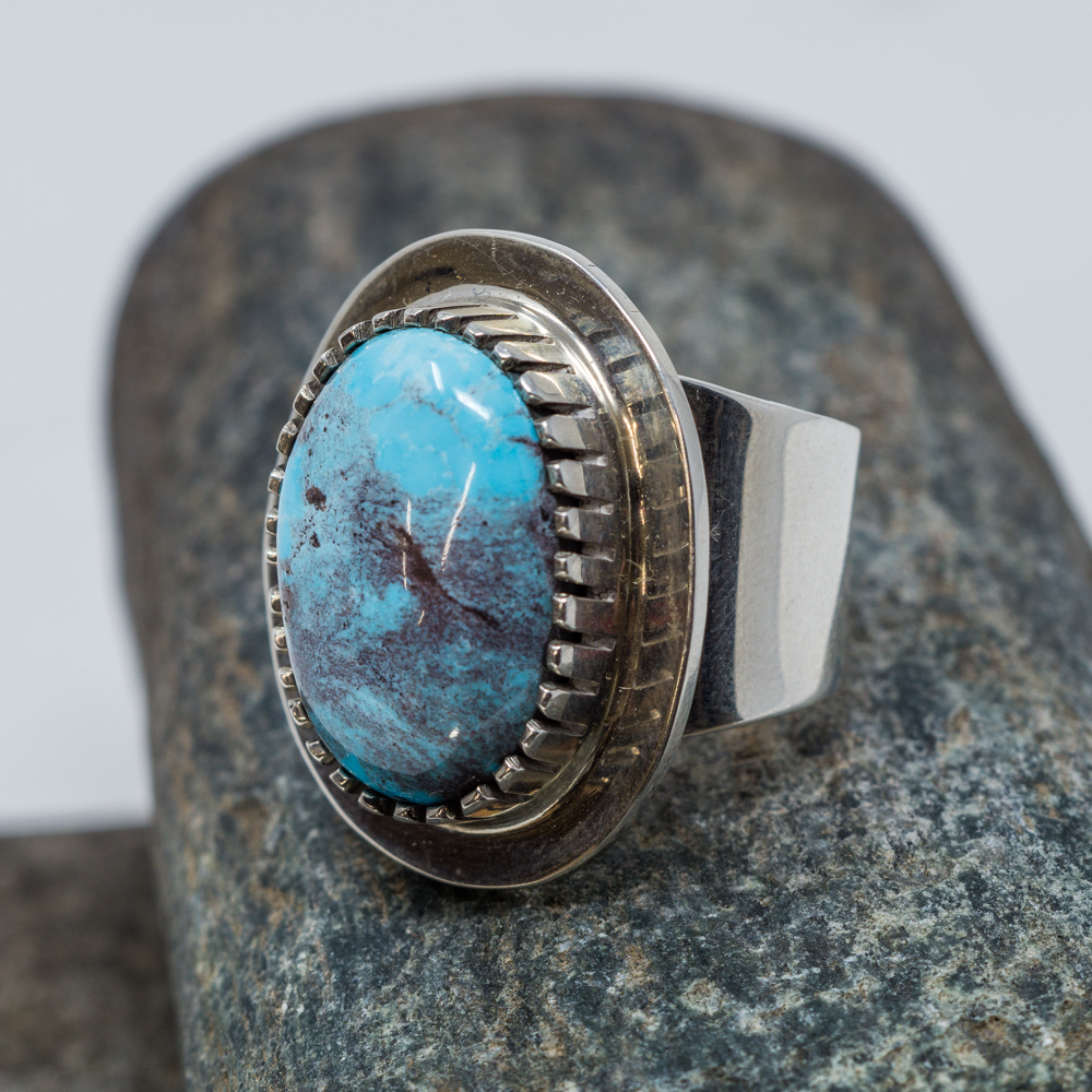 High Grade Bisbee Turquoise Ring by Tommy Jackson JE200102
