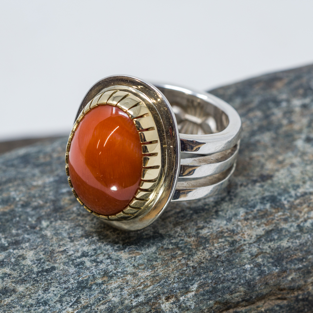 Coral, Gold and Sterling Silver Ring by Tommy Jackson JE200108