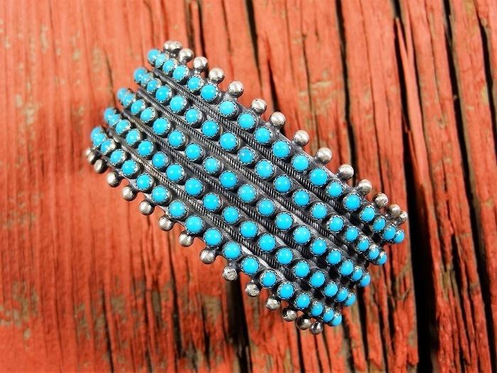 Sleeping Beauty Turquoise Snake Eye Pattern Cuff Bracelet by Paul Livingston SB160016