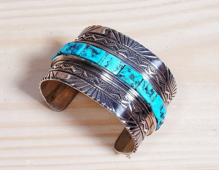 Vintage Stamped Sleeping Beauty Turquoise Cobblestone Cuff Bracelet by Tony Aguilar SB160104