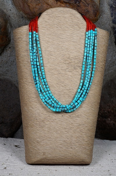 Sleeping Beauty Turquoise and Coral Heishi Necklace by Priscilla Nieto SB160107