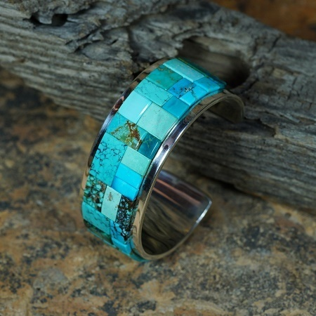 Sterling Silver Bracelet with Kingman Turquoise by Tommy Jackson JE160091