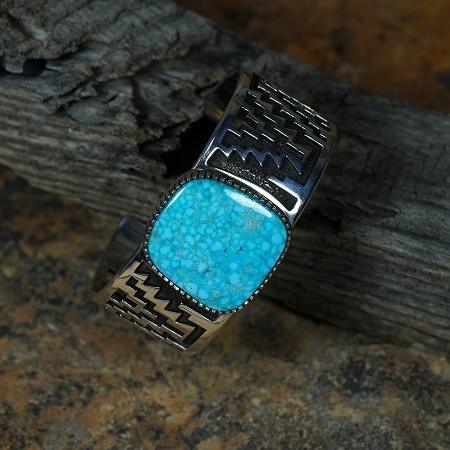 Sterling Silver Bracelet with Kingman Waterweb Turquoise by Tommy Jackson JE160098
