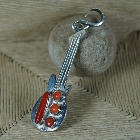 Sterling Silver Guitar Pendant with Coral JE160222