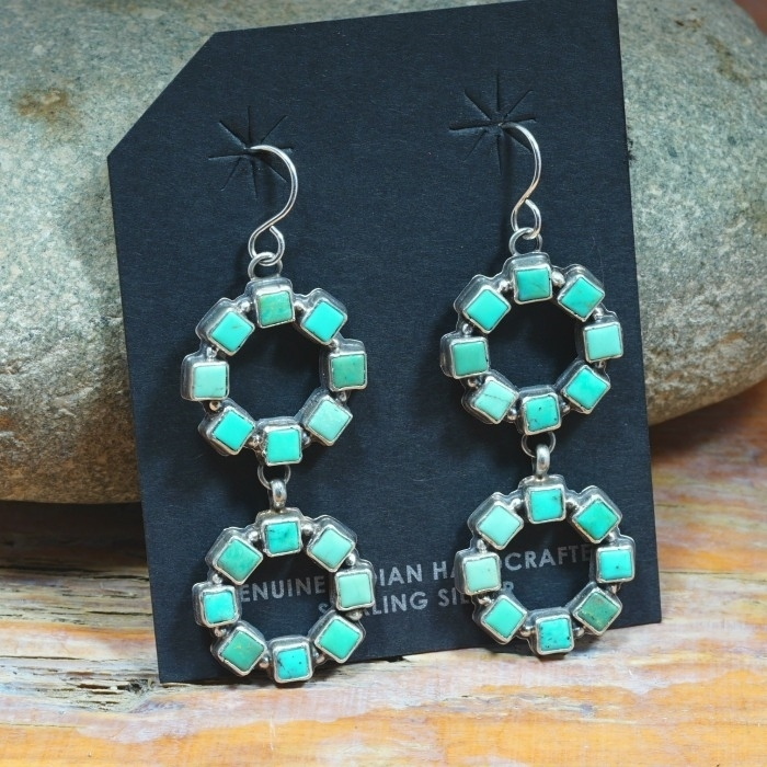 Sterling Silver Earrings with Nevada Green Turquoise by Annie Hoskie JE160315
