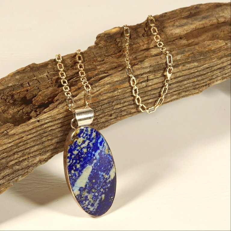 Marbled Lapis on Silver Chain JE170110