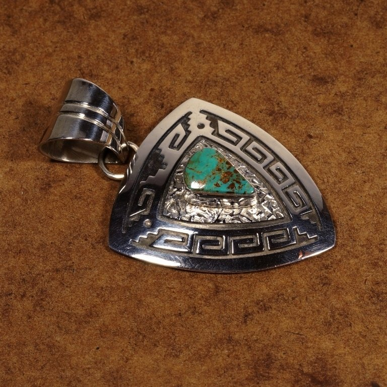 Turquoise w/Stamped Silver Pendant by Everett & Mary Teller JE170116