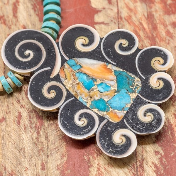Mary Tafoya Turquoise/Multi Stone  Necklace with Pendant