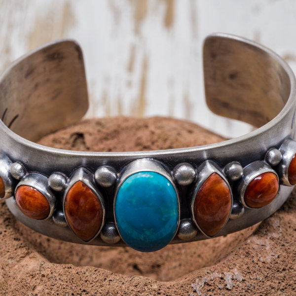 Campitos Turquoise & Spiny Oyster Bracelet - Front View
