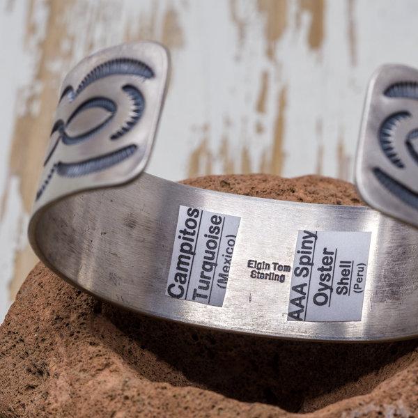 Campitos Turquoise & Spiny Oyster Bracelet - Inside Engraving