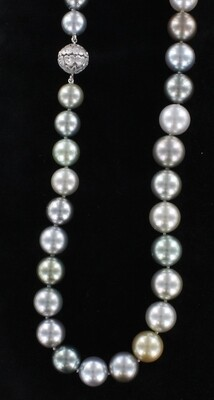 12.5-10.0 MM MULTI-COLOR TAHITIAN PEARL NECKLACE