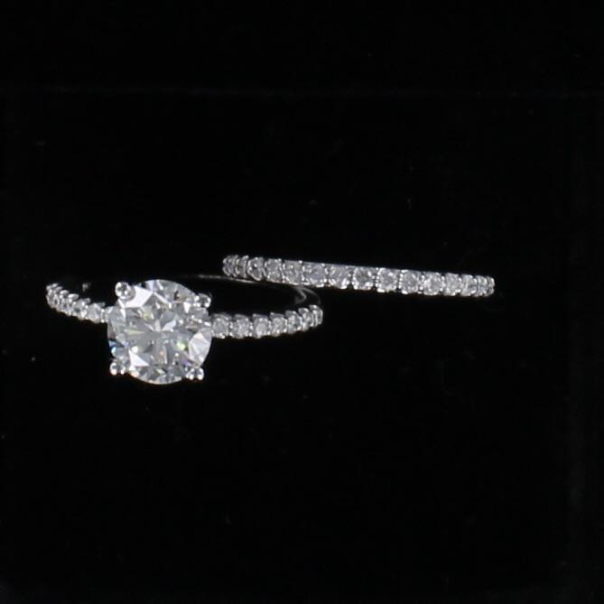 14KT 1.79 CT GIA CERTIFIED ROUND BRILLIANT DIAMOND WEDDING SET