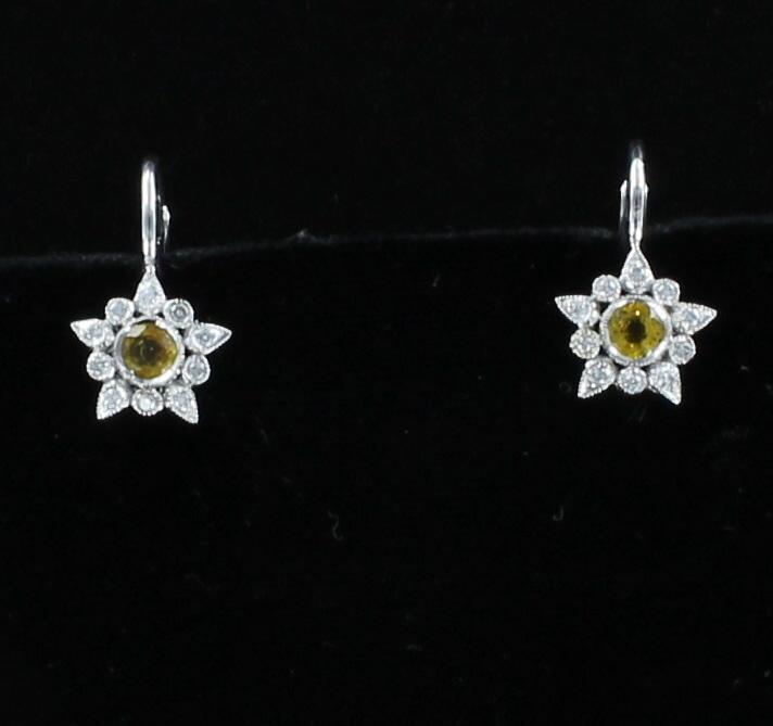 14KT YELLOW SAPPHIRE AND DIAMOND EARRINGS