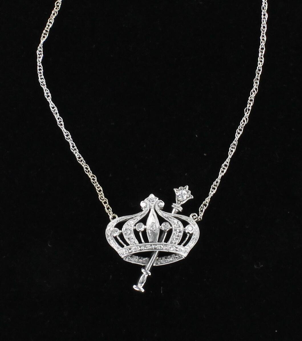 14KT CROWN PENDANT NECKLACE