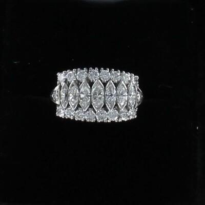 PLATINUM MARQUISE AND ROUND DIAMOND RING