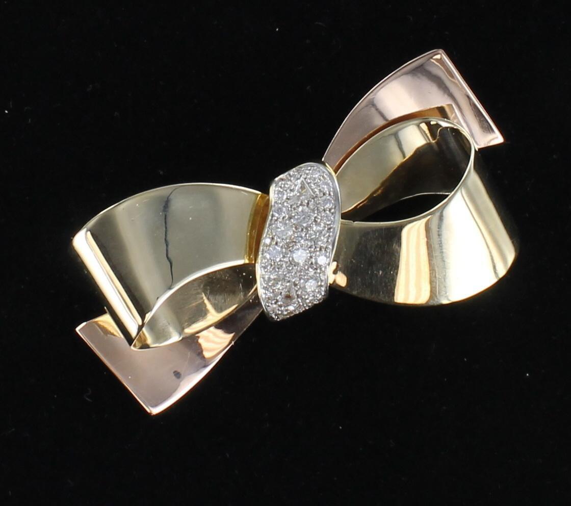 14KT 2.50 CT TW DIAMOND BOW PIN