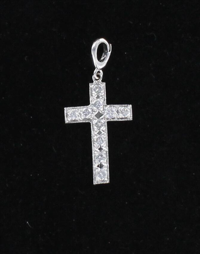 10KT WHITE GOLD DIAMOND CROSS