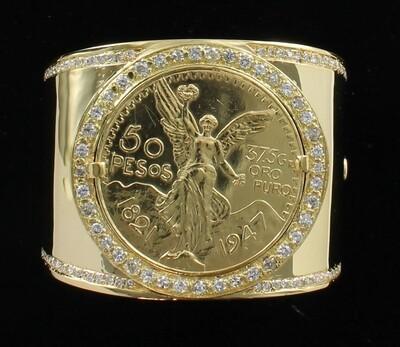 22KT 50 PESOS COIN AND DIAMONDS ON 18KT YELLOW GOLD BANGLE