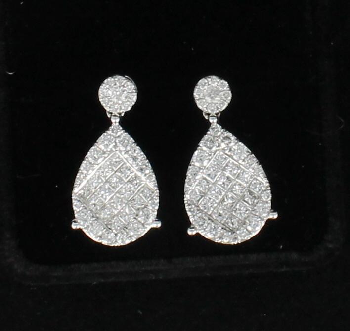 14KT 3.40 CT TW DIAMOND EARRINGS