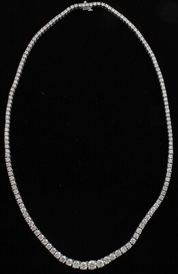 14KT WHITE GOLD 16.75 CT TW DIAMOND RIVIERA NECKLACE