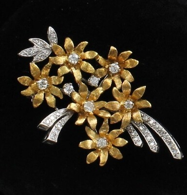 18KT 2-TONE GOLD DIAMOND FLOWER PIN