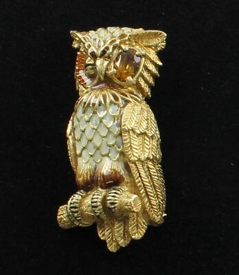 18KT YELLOW GOLD ENAMEL AND CITRINE OWL PIN