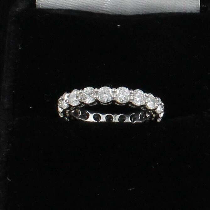 PLATINUM DIAMOND ETERNITY BAND,  SIZE 6