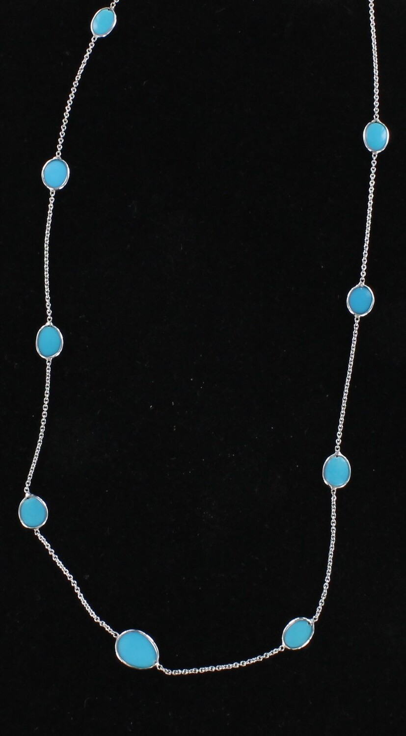 18KT WHITE GOLD TURQUOISE BY THE YARD CHAIN