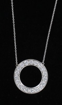 PLATINUM 4.0 CT TW DIAMOND CIRCLE NECKLACE CIRCA 1930