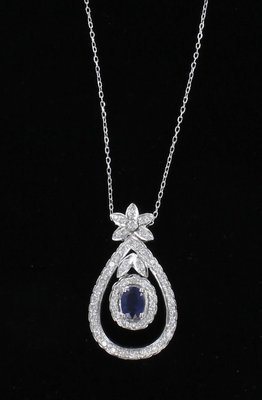 18KT SAPPHIRE AND DIAMOND NECKLACE