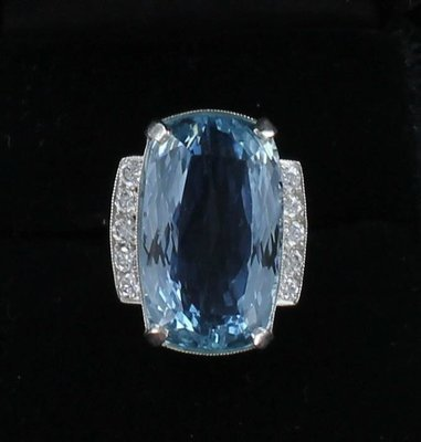 PLATINUM 20.0 CT AQUAMARINE RING