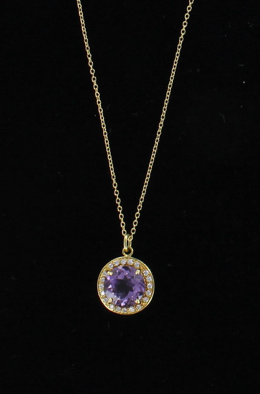 18KT AMETHYST AND DIAMOND PENDANT