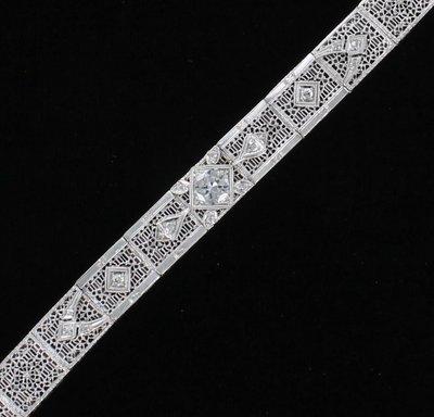 14KT 1.25 CT TW DIAMOND FILAGREE BRACELET CIRCA 1920