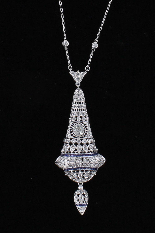 PLATINUM FILAGREE DIAMOND AND SAPPHIRE PENDANT