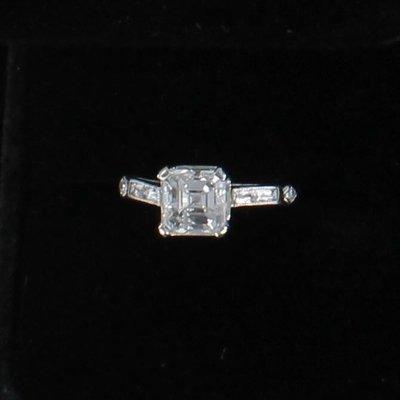PLATINUM 2.01 CT ASSCHER CUT DIAMOND, VS2-F, ENGAGEMENT RING