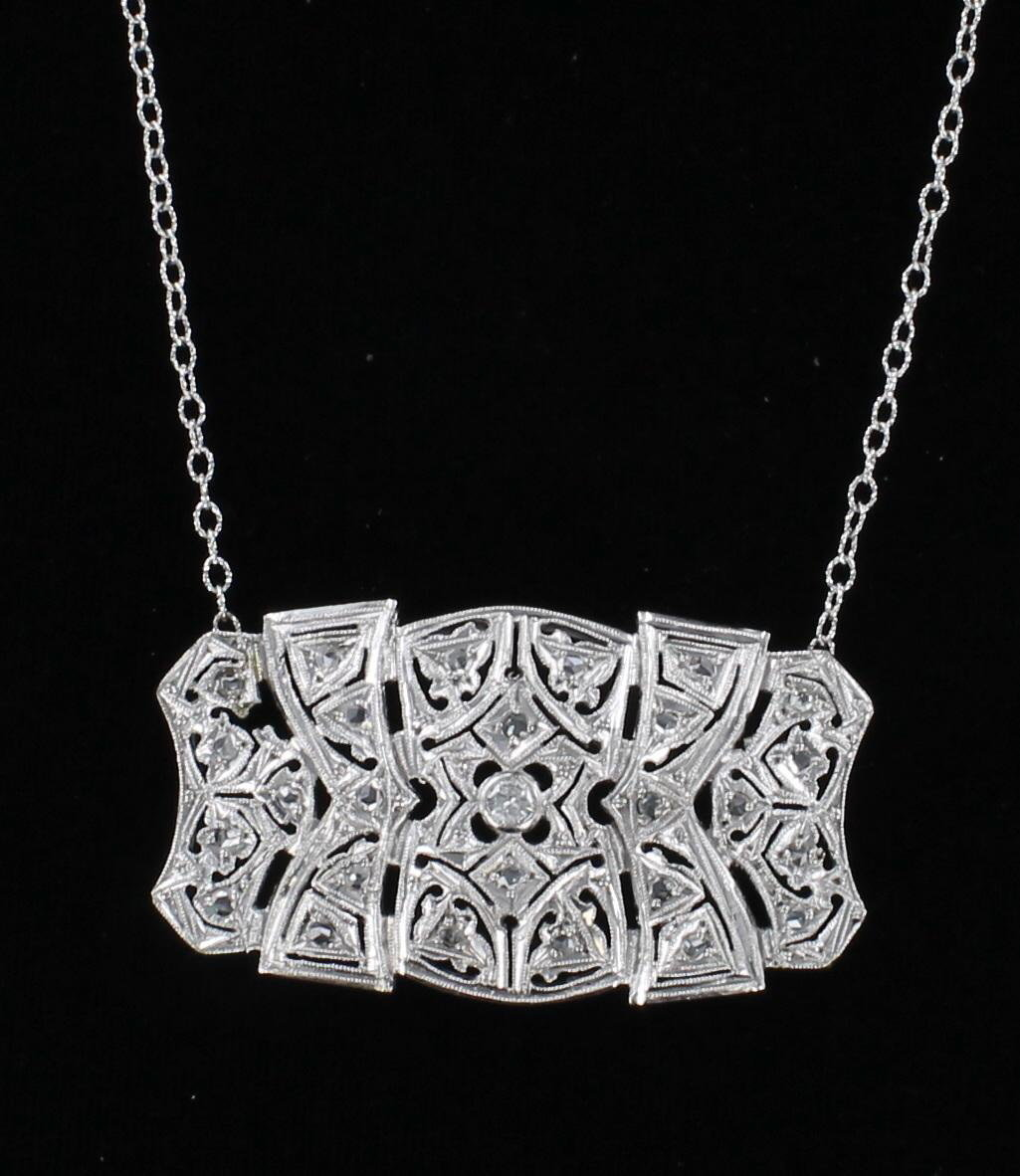 18KT ART DECO DIAMOND NECKLACE